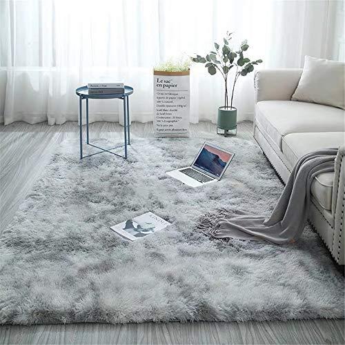 Glitzfas - Alfombra moderna de piel de cordero sintético de pelo largo, agradable piel de oveja, para salón, comedor, habitación de los niños, delante de la cama, piel, gris claro, 120 * 160