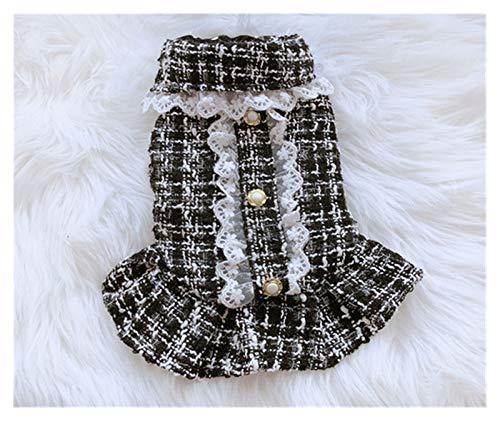 HDDFG Ropa para mascotas, pequeños vestidos de solapa perfumados para perros de otoño e invierno, ropa de perro tutú para niñas y perros, vestidos para mascotas (color negro, tamaño: grande)