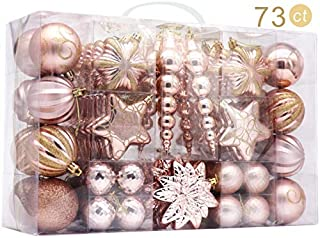AUXO-FUN 73ct Assorted shatterproof Christmas Ornaments Luxury Collection Set in Reusable Hand-held Gift Package for Christmas Tree Decoration (Champagne)