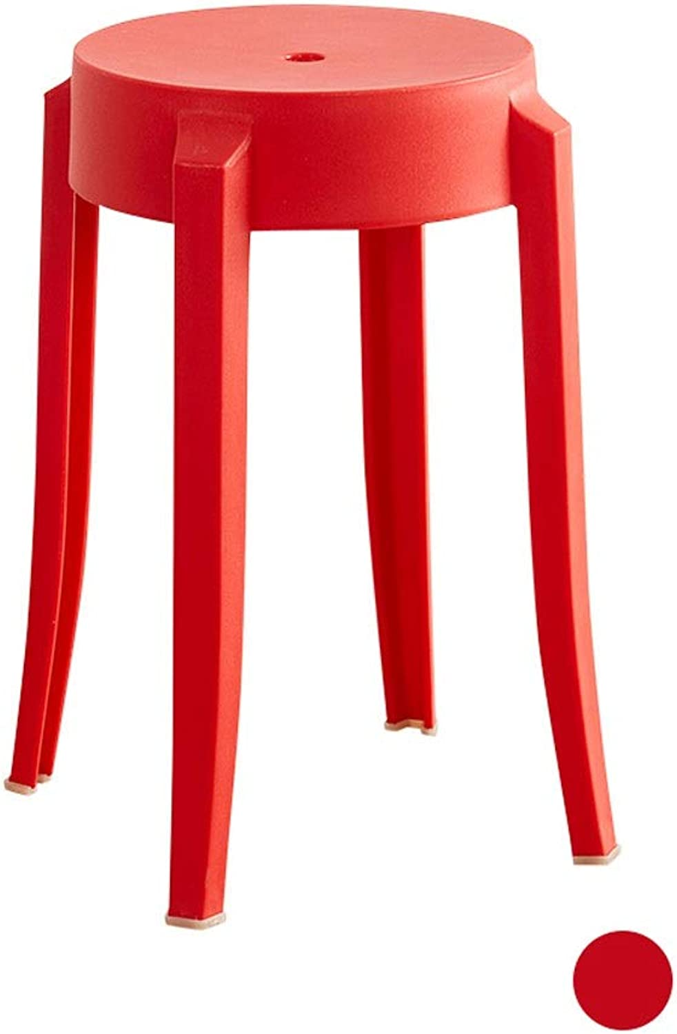 Thicken Adult Plastic Chair Space High Table Bench Home High Stool Fashion Creative Simple Small Round Stool (color   Red)