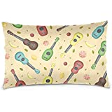 Agnes Carey Ukelele Hawaiano y Frutas Velvet Oblong Lumbar Plush Throw Pillow Cover/Shams Cushion Case 20Inch * 30Inch Diseño de Cremallera Invisible Decorativa