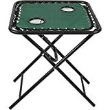 Sunnydaze Folding Sling Side Table with Mesh Drink...