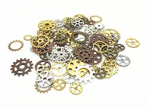 "Material:lead and cadmium free Zinc alloy with plating treatment. Sold in ""Gram"", 100g includes around 80pcs antique gears(quantity may vary due to different sized gear but weight is 100gram) Great DIY gift for your friends,lovers or yourself to crea..."