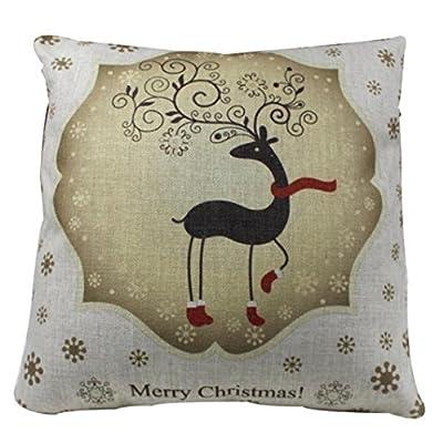 iLH Pillow Cases Vintage Retro Cotton Linen Printed Throw Pillow Case Cushion Cover Cafe Home Party Hallowmas Christmas Decor (C)