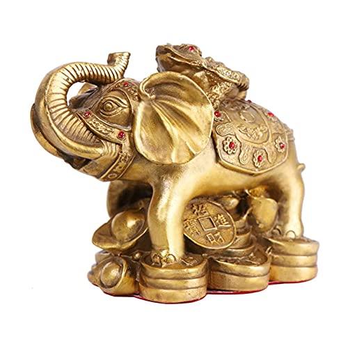JY&WIN Estatua de Elefante Feng Shui Adornos de Elefante con Dinero Escultura de Rana Oficina Decoración del hogar Regalo y Buena Suerte Atrayendo Riqueza, Latón, L