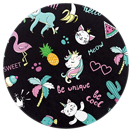 AIBILI Einhorn Flamingo Toucan Cat Runde Super Soft Area Teppich für Schlafzimmer zottelig Plüsch Teppich für Wohnzimmer Outdoor Matte, Unicorn Flamingo Toucan Katze, 62in(5.2ft)