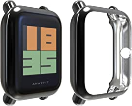 JZK Compatible with Amazfit Bip Screen Protector Case, TPU Plated Screen Protector Cover [Scratch-Proof] All-Around Protective Bumper Shell Compatible Amazfit Bip Smartwatch Accessories(Black)