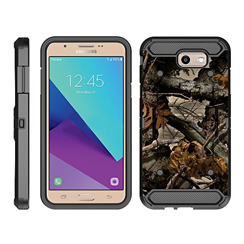 TurtleArmor   Compatible with Samsung Galaxy J7 2017 Case   J7 Prime   J7 Sky Pro [Armor Pro] Full Body Protection Armor Hybrid Kickstand Rugged Cover Holster Belt Clip Case - Tree Leaves Camouflage