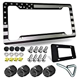 American Flag License Plate Frame- Patriotic USA Flag Car Tag Cover, Rust/Rattle Proof Aluminum Holder with Mounting Hardware Kit, Stainless Steel Screws Bolts, Black Caps, Tire Valve Stem Caps