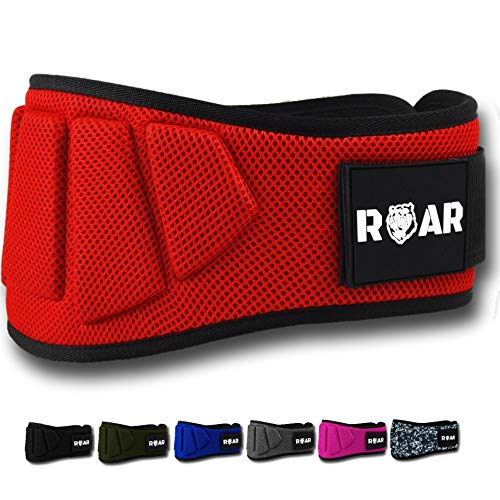 ROAR® Cintura da Palestra Per Sollevamento Pesi - Power belt per Crossfit, Powerlifting, Weightlifting, Fitness eserzio, Bodybuilding, Gym. Cintura da allenamento (rosso, XS)