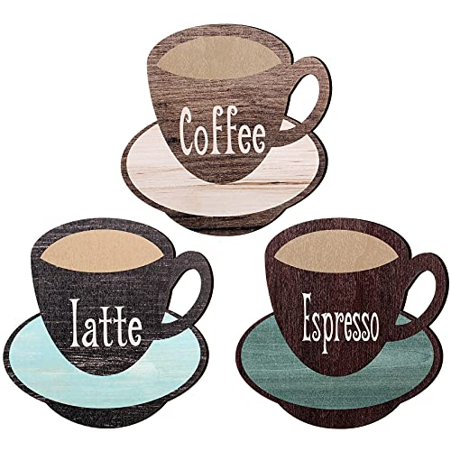 Jetec 3 Pieces Latte Coffee Espresso Wood Sign Coffee Cup Wooden Wall Sign Vintage Coffee Bar Wood Wall Decor Farmhouse Coffee Shop Decorations for Home Kitchen Office Coffee Shop Wall Door Decor