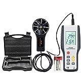 ERAY Anemómetro Profesional, Medidor de Velocidad de Viento y la Temperatura con LCD Pantalla Retroiluminada Sensación Térmica Calcular un Área en CFM o CMM para Senderismo, Navegación, Pesca y Viaje