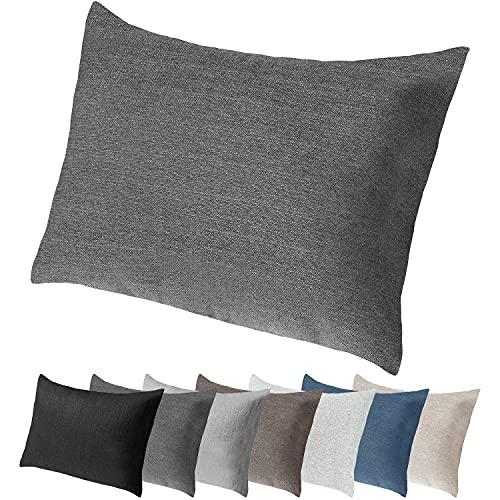 Selfitex Extra großes Sofakissen mit edlem Bezug und Füllung, Lounge- und Rückenkissen, Kopfkissen, Dekokissen, ideal beim Lesen, Schlafen, TV-Schauen (Anthrazit, 60 x 80 cm)