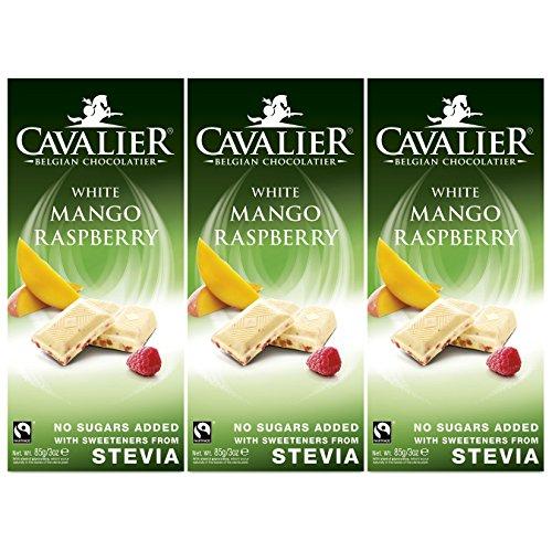 Stevia-Schokolade, Cavalier Belgian Chocolate 'Mango Raspberry White' 3 x 85g