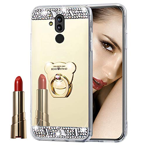 Glitzer Spiegel Hülle für Huawei Mate 20 Lite Gold, Misstars Bling Diamant Strass Überzug TPU Silikon Handyhülle Ultradünn Kratzfest Schutzhülle mit Bär Ring Ständer für Huawei Mate 20 Lite