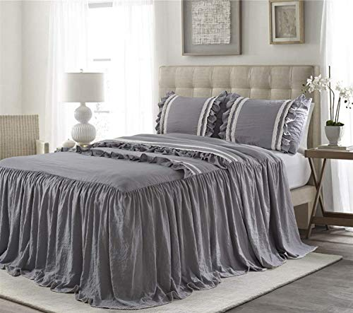 bednlinens&things 3PC Reversible Quilted Light Weight Bedspread Coverlet Set Over Sized Comforter Bedding Decorative Cover Queen King (Ruffle Bedspread Grey, Queen)