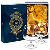 Large 22 oz Crystal Brandy and Cognac Snifter Glasses | Set of 2 Short Stem Giant Sniffer Bowls | Drinking and Tasting Glassware for Bourbon, Scotch, Tequila, Armagnac, Rum, Beer, Liquor