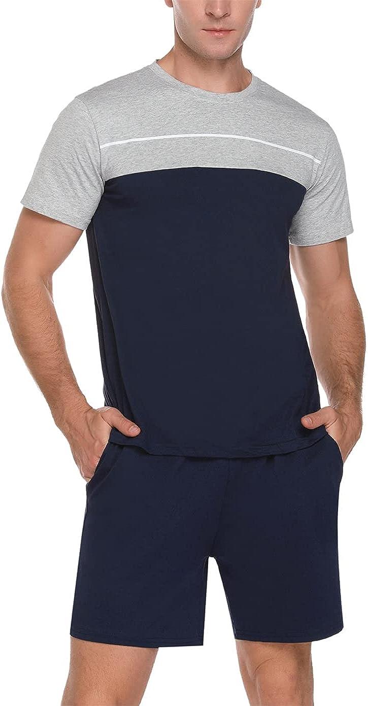Mens Summer Pajamas Shorts Set Cotton Short Sleeve T-shirt and Sleep Bottom Lounge PJ Set Sleepwear