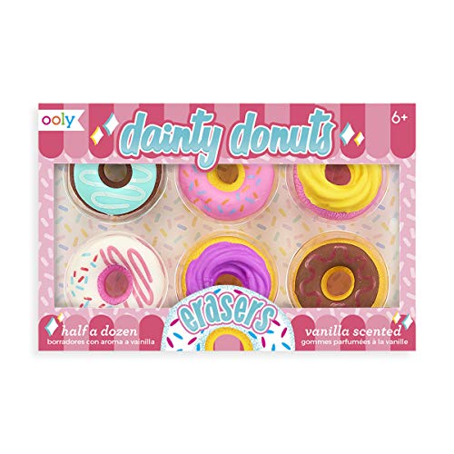 OOLY, Dainty Donuts Vanilla-Scented Erasers, School Supplies for Kids - Set of 6