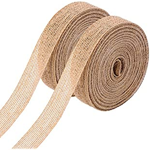 2 Rolls Natural Burlap Fabric Ribbon Roll for Wedding Events Party and Home Decor, 10 Meters Each Roll