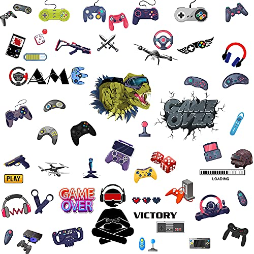 57Pcs Gamer Wall Stickers Gaming Controller Decals for Boys Bedroom, Jomense Removable Children...