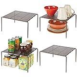 mDesign Estantes de cocina – Soportes para platos autónomos de metal – Organizadores de...