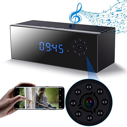 Hidden Camera Clock in Bluetooth Speaker with Night Vision, Wireless 1080P Nanny Cam, Motion Detection WiFi Smart Security Monitoring for Home/Office.