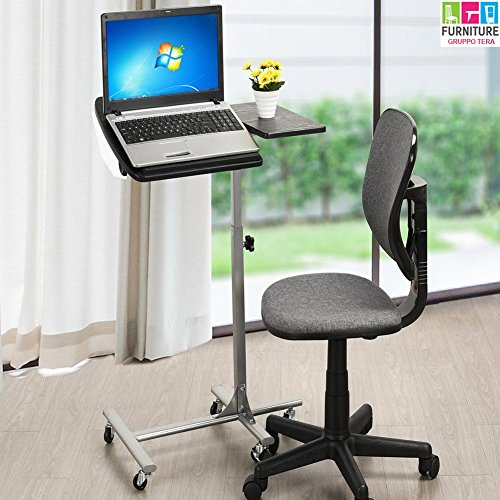 BAKAJI Tavolino Porta PC Notebook Laptop con Rotelle Altezza Regolabile 60 x 40 x 70/90cm, Carrello Alto Showroom, Tavolino Scrivania ausiliare casa e