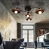 Lámpara de techo negra E27 Lámpara de salón moderna 4 llamas Lámpara de araña industrial Lámpara de salón Lámpara de dormitorio interior de plástico con un aspecto moderno de metal, sin iluminación