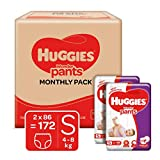 Huggies Wonder Pants Small (S) Size Baby Diaper Pants Monthly Pack, 172 count, with Bubble Bed Technology for comfort