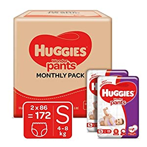 Huggies Wonder Pants Small (S) Size Baby Diaper Pants Monthly Pack, 172 count, with Bubble Bed Technology for comfort 8 51gkPl4dyiL. SS300