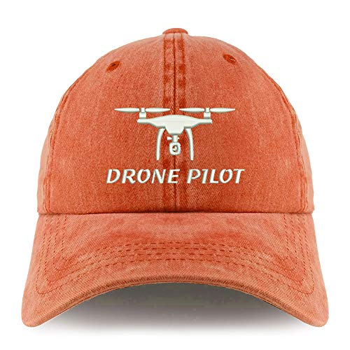 Trendy Apparel Shop Drone Pilot Embroidered Pigment Dyed Unstructured Cap - Orange