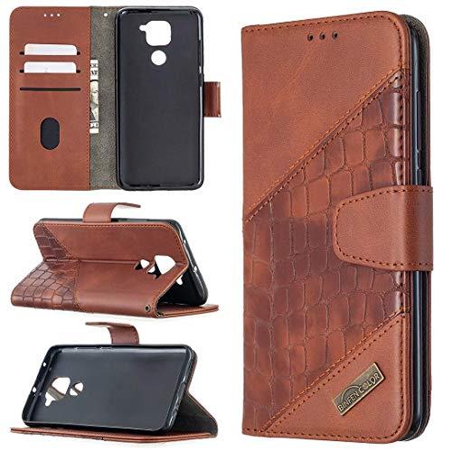 Miagon Xiaomi Redmi Note 9 Custodia Portafoglio Cover,Antiurto Coccodrillo Splicing PU Pelle con Chiusura Magnetica Tasca per Carte di Credito Funzione Cavalletto,Marrone