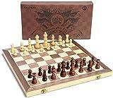 OUNUO Tablero Ajedrez Magnético 39*39CM, Juego de ajedrez de Rompecabezas Plegable y fácil de Llevar, Juego ajedrez para niños y Adultos, Juegos al Aire Libre o Regalos