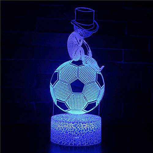 Lámpara de regalo de cumpleaños con ilusión 3D para fútbol, 16 colores, decoración de cambio de color – regalo perfecto fiesta de cumpleaños Navidad para bebés y adolescentes amigos