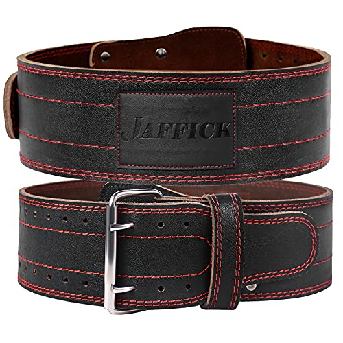 Jaffick Genuine Leather PRO Weightlifting Belt (4 Inches Wide) (8 MM Thick) for Men & Women Weightlifting Exercise and Back Support of Heavy Weights Training in Gym