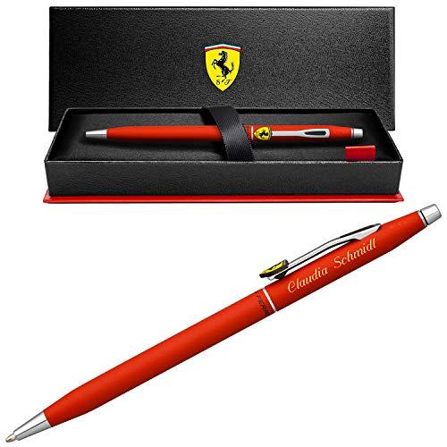 Ferrari Kugelschreiber Cross Classic Century Rosso Corsa mit Laser-Gravur chrompolierten Beschlägen