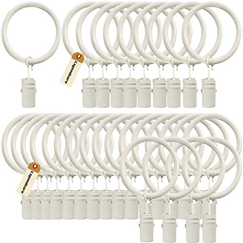 Lsgoodcare Set of 30 Decorative Metal Drapery Curtain Rings with Clips-1 Inch Interior Diameter, White Clip Rings for Curtain(Premium Iron Material)