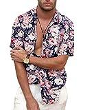 COOFANDY Men's Flower Casual Shirts Hawaiian Vaction Cotton Button Down Shirt (Medium, PAT5( Short Sleeve))