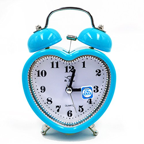 ISABELLE Réveil pour enfants Réveil Silencieux Lumineux Réveille-matin de Réveil Voyage Moderne rétro classique Bleu