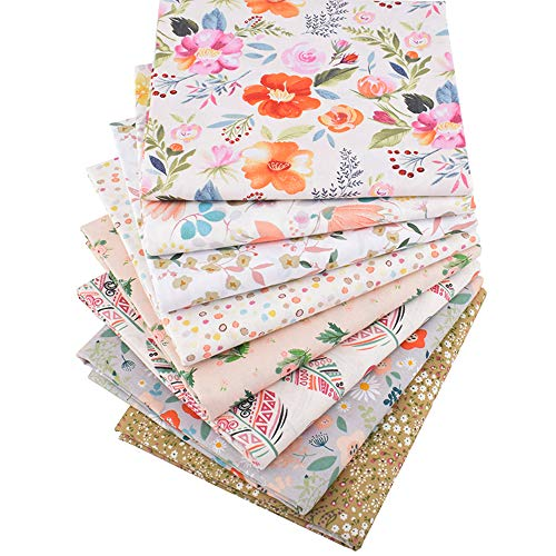 Hanjunzhao New Design Floral Fat Quarters Fabric Bundles for Quilting Sewing, 18 x 22 inches