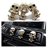 Zanyuei Skull Car Air Vent Clip Charms, Evil Skull Trio Statue with Air Freshener, Car Aromatherapy Air Conditioning Outlet Clip, Car Interior Decoration (A Set Of 3Pcs) (3PCS)