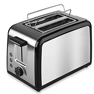2 Slice Toaster with Warming Rack Cool Touch Toaster 2-Slice Toasters with Defrost, Reheat, and Cancel Buttons- Premium Brushed Stainless Steel