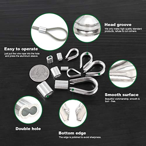 Keadic 255Pcs M1.5/2/3/4/5 304 Stainless Steel Metric Wire Rope Cable Thimbles and [1.2-4mm ] Aluminum Double Barrel Ferrule Crimping Loop Sleeve Assortment Kit for Wire Rope Cable Thimbles Rigging
