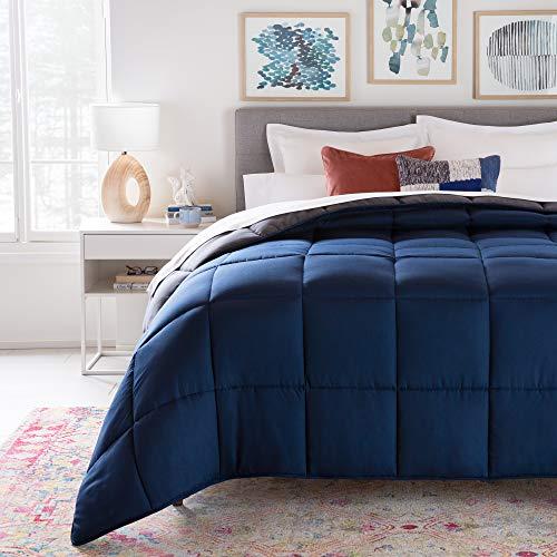 Linenspa All- Season Reversible Alternative Hypoallergenic-Plush Fill-Machine Washable Quatrefoil Microfiber Comforter, Oversized King, Navy/Graphite