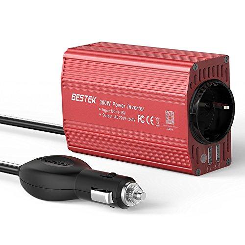 Wechselrichter 300W BESTEK Spannungswandler DC 12V auf AC 230V,Konverter mit TÜV Zertifiziert,Autobatterieclips Kabel beim Camping, im Auto, auf Booten oder RV
