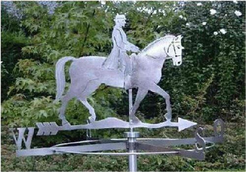 Große Wetterfahne Reiter mit Pferd aus Edelstahl (Wetterhahn)