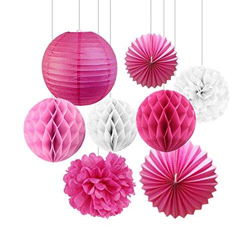 SUNBEAUTY 8er Set Papier Blume Pompom & Wabenball & Lampion Rosa Deko Serie Mixed Hochzeit Geburtstag Babyparty Dekoration (Rosa)