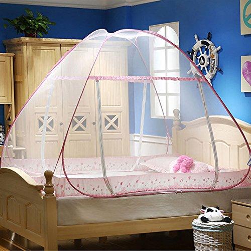 Moskito Netto Bett Baldachin Pop-up faltbare Doppel Tür einfach zu Setup mit unten Anti Moskito beißt für Bett Camping Travel Zelt Vorhänge ideal für Indoor und Outdoor use (Pink)
