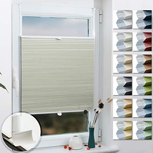 Grandekor Wabenplissee nach Maß Klemmfix ohne Bohren, Thermoplissee für Fenster & Tür, 100{5d0e87ff4ef3150c7e0cd640a4704dcdc4a1fdada97e647be4c1bee319c7a9d5} Verdunkelung Sonnen-, Sicht- & Schallschutz Wärmeisolierung (Weiß-Milchweiß, 55x130cm (BxH))